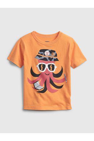 GAP Oranžové klučičí dětské tričko short sleeve graphic t-shirt