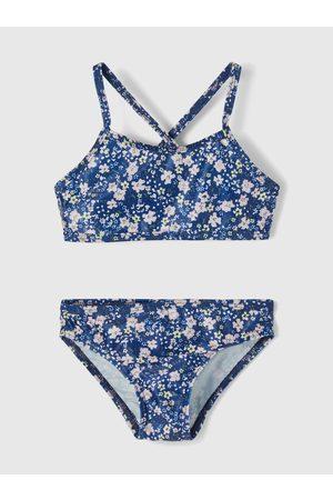 NAME IT Dívky Dvoudílné plavky - Modré holčičí květované dvoudílné plavky Felisia