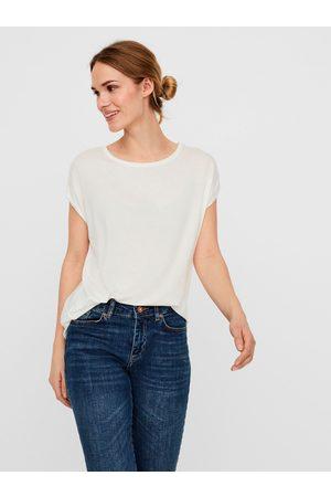 VERO MODA Krémové dámské basic tričko s krátkým rukávem Ava