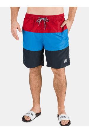 sam 73 Červeno-modré pánské pruhované plavky