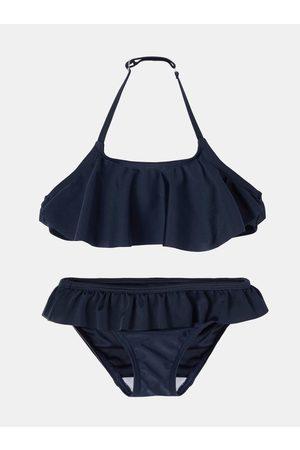 NAME IT Tmavě modré holčičí dvoudílné plavky s volány Fini