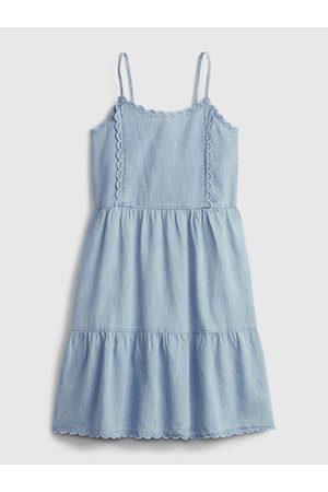 GAP Modré holčičí dětské šaty scalloped tiered denim dress