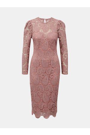 Little Mistress Růžové krajkové pouzdrové šaty