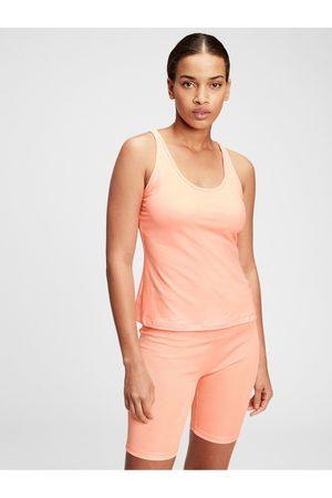 GAP Oranžové dámské tričko brushed jersey keyhole back shelf tank