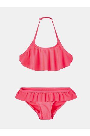 NAME IT Dívky Dvoudílné plavky - Růžové holčičí dvoudílné plavky s volány Fini