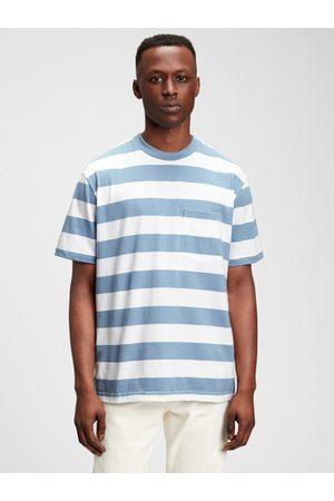 GAP Modré pánské tričko short sleeve strpe t-shirt