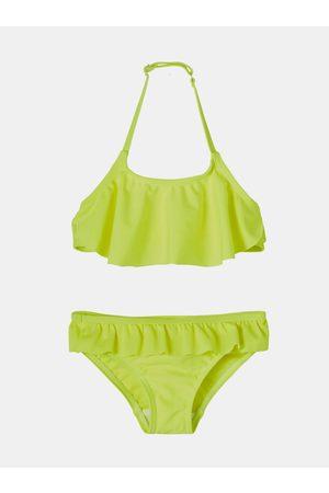 NAME IT Dívky Dvoudílné plavky - Neonově žluté holčičí dvoudílné plavky s volány Fini