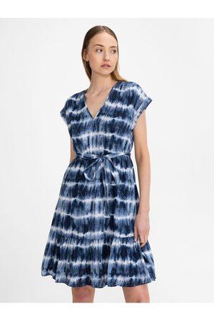 GAP Modré dámské šaty v-neck tie waist dress