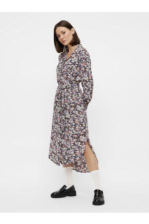 Pieces Ženy Košilové - Šedé květované košilové šaty