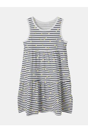 NAME IT Dívky Šaty - Bílé holčičí pruhované šaty Vigga