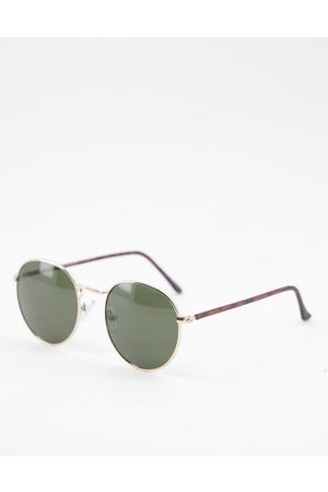 Accessorize Round sunglasses with gold frames and brown lens