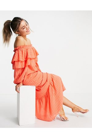 ASOS Dobby off shoulder maxi dress in coral-Pink