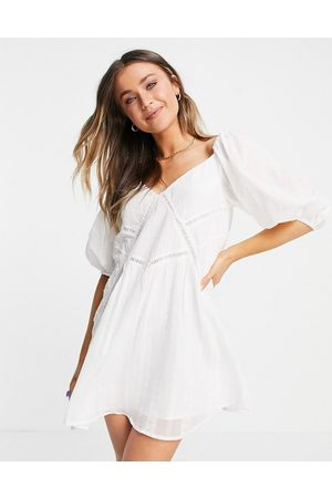 ASOS Smock mini dress with lace inserts in white