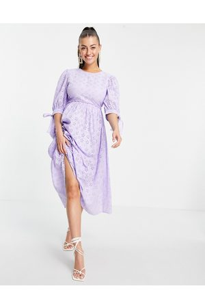 ASOS Broderie maxi smock dress with open back in lilac-Purple