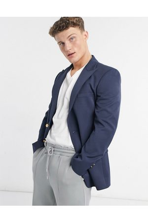 ASOS Skinny blazer in navy with gold button