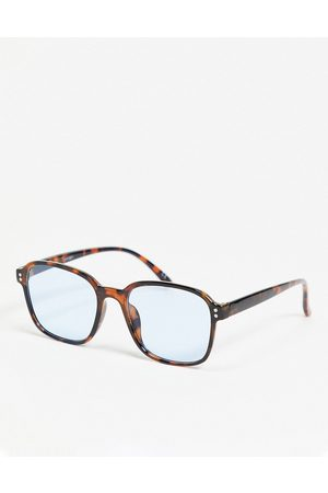ASOS Recycled frame round sunglasses with pale blue lens-Brown