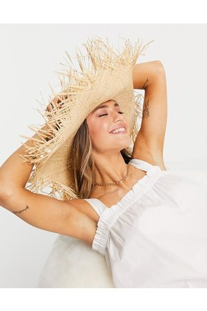 ASOS Straw raw edge floppy hat with size adjuster in natural-Brown