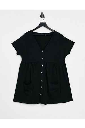 ASOS Button through mini smock dress with pockets in black