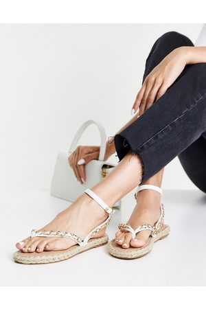ASOS Journal chain trim toe thong sandals in white