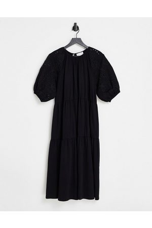 ASOS Midi dress with gathered neck and embroidered cut out detail and tiered hem in black