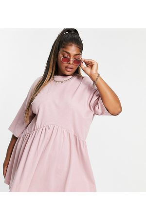 ASOS Curve ASOS DESIGN Curve oversized mini smock dress with dropped waist in rose-Pink