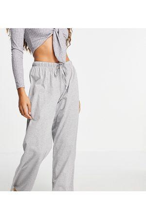 ASOS Ženy Rovné nohavice - ASOS DESIGN Petite mix & match straight leg jersey pyjama trouser in grey marl