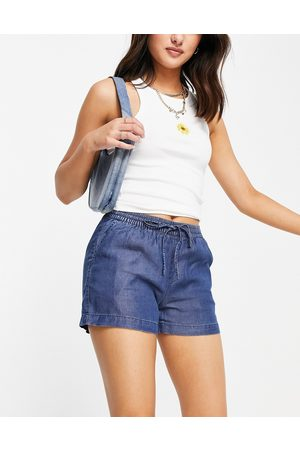 ONLY Chambray shorts with tie waist in dark blue