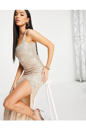 Club L Sequin square neck thigh split maxi dress in rose gold-Pink