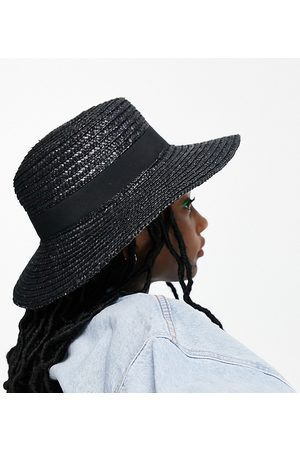 South Beach Ženy Klobouky - Exclusive straw boater hat in black