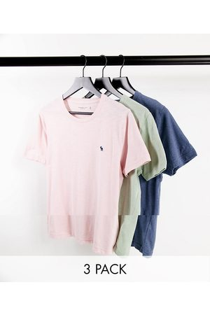 Abercrombie & Fitch 3 pack icon logo t-shirt in pink/green/blue-Multi