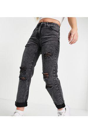 Parisian Petite Ženy Mom džíny - Distressed mom jeans in washed black