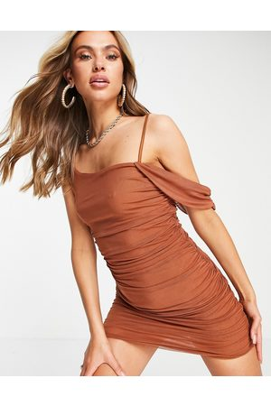 Love & Other Things Mesh off shoulder bodycon dress in tan-Brown