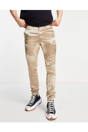 ASOS Muži Úzké nohavice - Skinny satin smart jogger cuff trousers co-ord in beige-Neutral