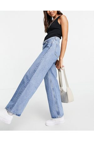 Weekday Ray organic cotton low rise wide leg jeans in hanson blue