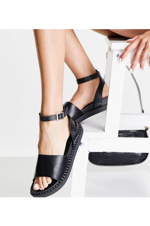 Glamorous Wide Fit Ženy Bez podpadku - Chunky flat sandals with ankle strap in black