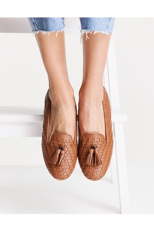 Dune Gilsa woven tassle loafers in tan-Brown