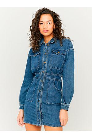 Tally Weijl Modré džínové košilové šaty s kapsami