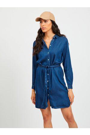 VILA Tmavě modré džínové košilové šaty Bista