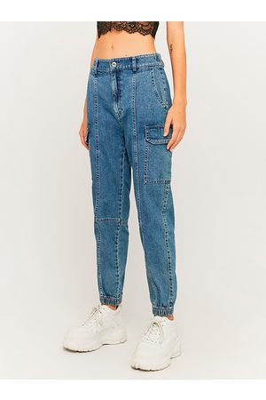 Tally Weijl Ženy Rovné nohavice - Modré straight fit džíny s kapsami