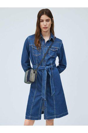Pepe Jeans Ženy Džínové šaty - Dámské modré džínové šaty Julie