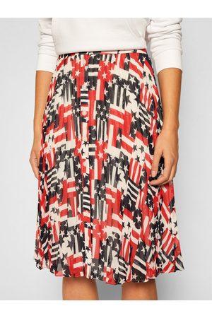 Tommy Jeans Ženy S potiskem - Dámská vzorovaná skládaná sukně