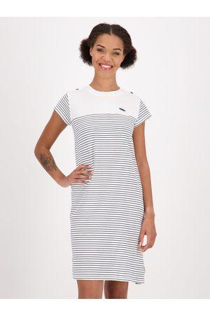 alife kickin Bílé pruhované šaty s páskem