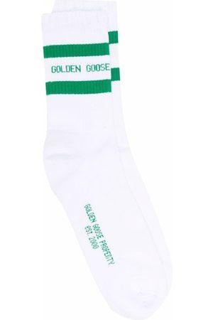 Golden Goose Ponožky - Logo-intarsia ribbed-knit ankle socks
