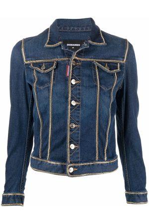 Dsquared2 Ženy Džínové bundy - Chain-detailed cropped denim jacket