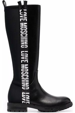 Love Moschino Logo-tape knee-high boots