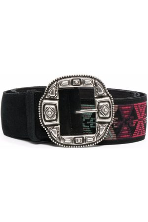 Etro Geometric-embroidered suede belt