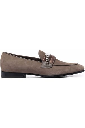 Philipp Plein Chain-embellished suede loafers