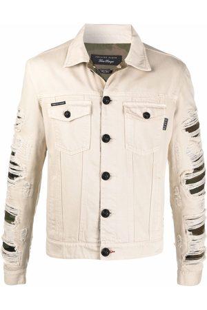 Philipp Plein Ripped camouflage denim jacket