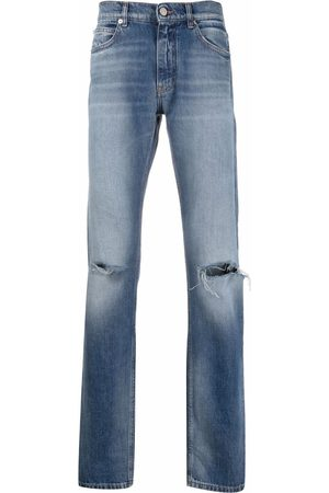 VERSACE Distressed-effect straight-leg jeans