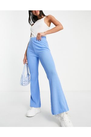 ASOS DESIGN Co-ord knitted flare trousers in blue
